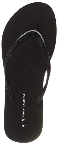 Armani Exchange Damen Rubber Slide Zehentrenner, Schwarz (Black 00002), 41 EU