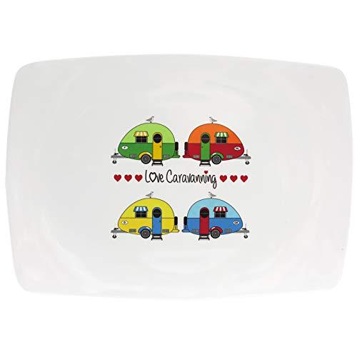 Melamin Geschirr Servierplatte 30x25cm Camping Caravan Design farbenfroh rechteckig Servierplatten Aufschnittplatte Wurstplatte Käseplatte Servierteller Servierschale modernes Melamingeschirr Outdoor