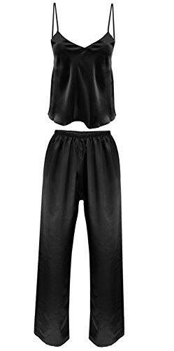 DKaren-Nachtwäsche Damen Wäsche Set aus Satin IGA (XS – 2XL) Schwarz