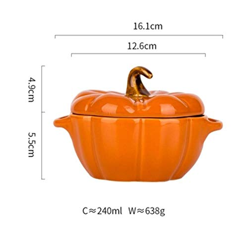KOIYOI 1PC Ceramic Household Bowl Lovely Pumpkin Bowl Baking Bowl With A Lid Tableware,C