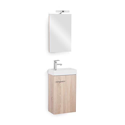 Galdem Bad-Set Bologna Gäste WC Set Gästebad Badmöbel Waschbecken Unterschrank Keramikwaschbecken Waschtisch Spiegel Halogen Beleuchtung Eiche Sägerau -
