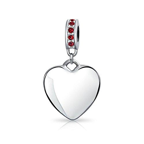 Bling Jewelry 925 Cristallo Argento pendenti Cuore Rubino simulato Tallone si inserisce