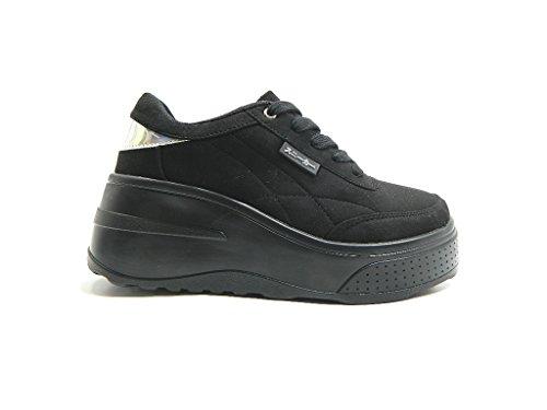 Hakimono Toki Sneakers Femme Avec Plate-forme Wedge Black Black