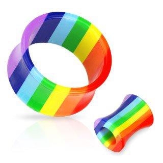 All-UV-Regenbogen-Gay-Pride-doppelt-ausgestellter-hohler-Acryl-Plug
