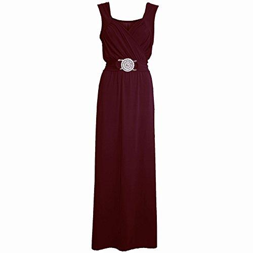 Essere geloso in velluto Cheryl Cole da donna motivo floreale peplo senza maniche Midi Maxi Dres Wine - Plus Sizes Maxi Long Dress Top