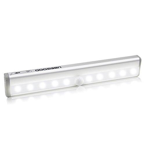 LED Schrank lampe, Ubegood automatische IR Sensorleuchte mit Bewegungsmelder/LED Lichtleiste mit 10 LEDs für Schrank, Unter-Kabinett, Wandschrank(Silber) (Schrank-türrahmen)