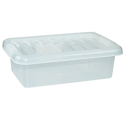 CrazyGadget Small Medium Large Big Plastic Storage Clear Box with Clear Lid Strong Stackable Container Made In U.K. - Set of 6 (6 Litre, Clear