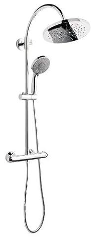 Wellness Duschsystem Chi Yang | Duschgarnitur mit Handbrause und Kopfbrause | Inklusive Duscharmatur | Thermostat Armatur | Chrom