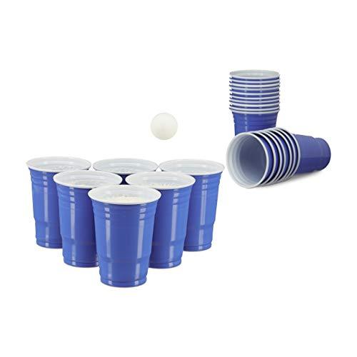 Relaxdays Beer Pong Getränkebecher im 50er Pack Party Cups für ca. 473 ml / 16 oz Flüssigkeit, blau