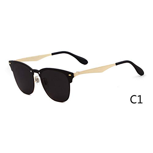 ZRTYJ Sonnenbrille Rahmenlose quadratische Sonnenbrille Frauen Markendesign Retro Vintage Flat Top Sonnenbrille Lady Pink Black Shades