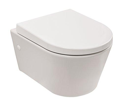 Wand-WC-Set citY | Verkürztes WC | Geringe Ausladung von 48 cm | Inklusive WC-Sitz | Tiefspüler | Weiß