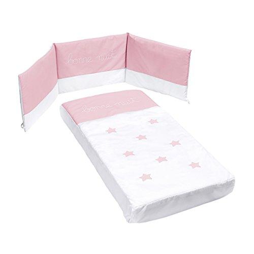 Cotinfant - Juego de colcha + protector para cuna 60 x 120 cm. nuit rosa