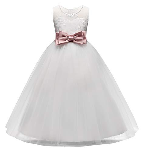 Mädchen Abendkleid Prinzessin Kleider Festkleid Blumenmädchen Tüll-Kleid Geburtstag Hochzeit Röck Party Cosplay Fasching Kinder Bogenrock-Weiß-120cm