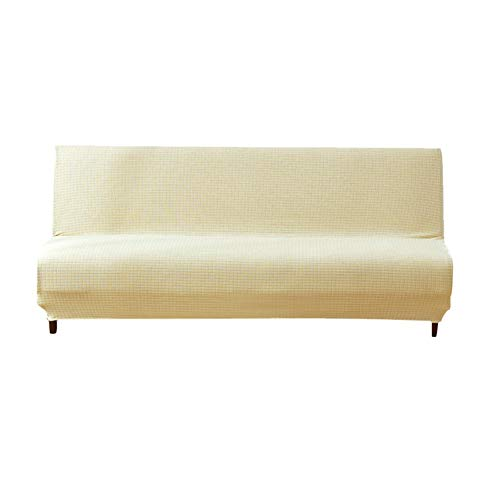 Futon Sofa Couch Bett (Gereton Solid Colour Armless Sofa Bed Cover Stretch Futon Schonbezug Protector Elastisch Full Folding Couch Sofa Shield Fit Folding Sofa Sofa Bett ohne Armlehnen, beige)