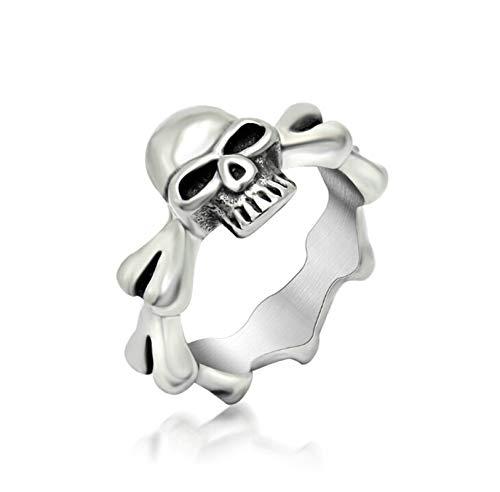 Aienid Herrenringe Edelstahl Schwarzer Knochen Herz Quadrat Punk Silber Schwarz Ring Für Herren Size:62 (19.7) -