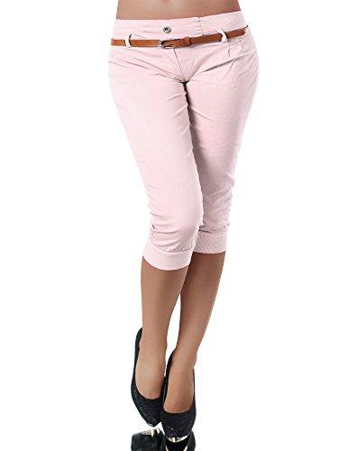Diva-Jeans N945 Damen Stoffhose Chino Capri Hose Sommerhose Pumphose Gürtel Normaler Bund, Größen:XL, Farben:Rosa