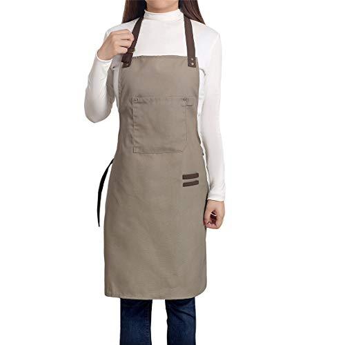 PEFF Einstellbare Schürzen Professionelle Latzschürze Baumwolle Leinwand mit Taschen für Frauen Männer Erwachsene Chefs Kochen/Reinigung / Küche/Restaurant Light Coffee (Tasche Designer 2 Tasche Schulter)