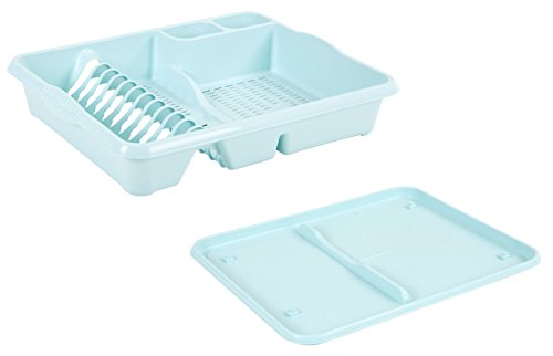 Plastic Dish Drainer Wit Drip Tray Cutlery Holder Organizer Kitchen Sink Plate Tidy Caddy (Duck Egg Blue)