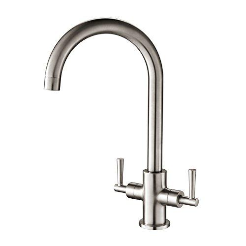 hapilife gebürstet Küche Wasserhahn zwei Griff schwenkbarer Auslauf Einlochmischbatterie,