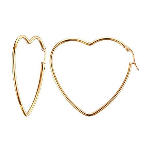 AILUOR Damen Sideway Großes Herz Formte Rhodium Überzogene Band-Statement Ohrringe Gold Einstellbar