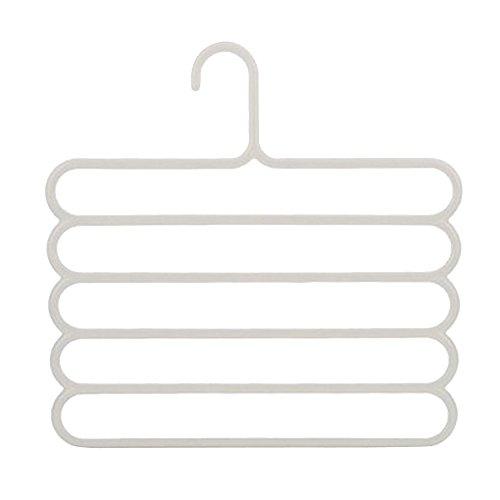 Eizur 5 Schicht Kunststoff Hosen Kleiderbügel Hose Zweiräder Aufhänger Multi Handtücher Kleiderbügel Aufhänger-Halter Wäscheständer Halter Krawatte Gürtel Tie Schal Handtücher Racks Non-Slip Aufhänger Speicher Organisator 33.5cm * 34cm--Weiß (Ort, Beste T-shirt)