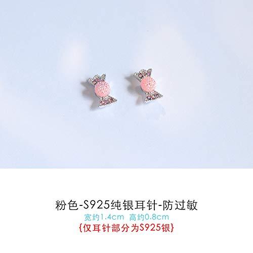 Vvsbaozi cristallo orecchini simpatici orecchini con piccole caramelle orecchini per bambini senza orecchini con piercing freschi e dolci orecchini a forma di cuore orecchini giapponesi e coreani, orecchini a clip rosa-s in argento sterling - anallergiche