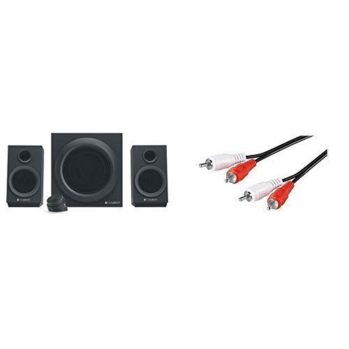 Logitech Z333 Multimedia Speakers - Lautsprecher für Home Entertainment (mit 80Watt und Subwoofer) schwarz & Goobay 50028 2x Cinch Stecker auf 2x Cinch Stecker Cinchkabel 1.5m, schwarz