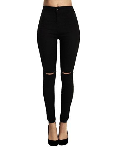 Yidarton donna ginocchio strappato sexy skinny jeans delle donne pantaloni a vita alta legging (l, nero)