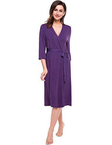 Avidlove Morgenmantel Damen Neuheiten für Frühling baumwolle Bademantel schwarz grau V Ausschnitt Schlafanzug lang Lila
