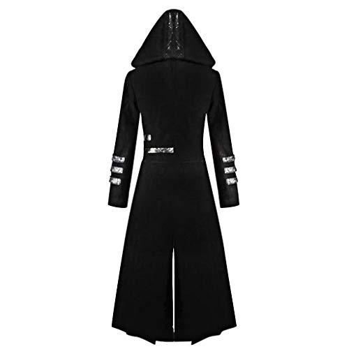 Mitlfuny Retro Rock Street Gothic Black Style Halloween Umhang Kostüme Vampir Kostüm Dracula, Fashion Herren Gothic Kapuzen Trench Party Kostüm Frack Langarm Jacke (Rock Der 2019 Halloween-kostüm)