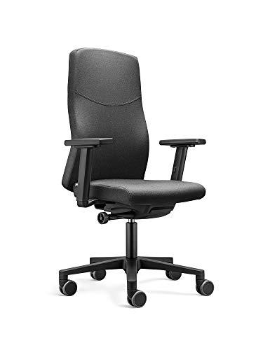 Löffler Ergonomischer Bürostuhl/Drehstuhl Basic mit Verstellbarer Sitzhöhe, anpassbaren Armlehnen, Rückenlehne mit Gewichtsautomatik (Schwarz)