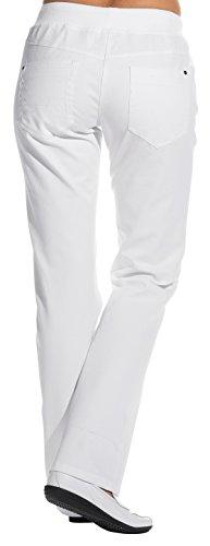 clinicfashion 10613010 Stretch Jeans Hose Damen weiß, Elastisches Rippstrickbündchen mit Kordeltunnelzug, Normallänge, Baumwolle, Größe 38 - 2
