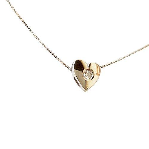 Collana punto luce cuore oro bianco 18kt 750 con diamante naturale 0,03ct f vvs