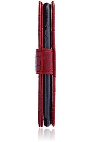 Apple iPhone 8 / iPhone 7 Hülle | Handyhülle | Tasche | Handytasche | Schutzhülle | Book Case | Cover Etui mit bruchfester Innenschale | Kartenfach | Standfunktion | Croco Look (Blau) Rot