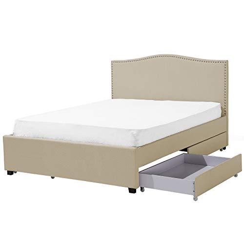 Polsterbett beige mit Bettkasten 160 x 200 cm Montpellier