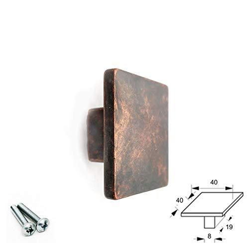 Quadratischer Knauf aus poliertem Nickel in Schwarz matt roségold antik Messing Kupfer Türgriff Zuggriff Küche Schrank Schublade, Antique Copper, 40 mm * 40 mm -