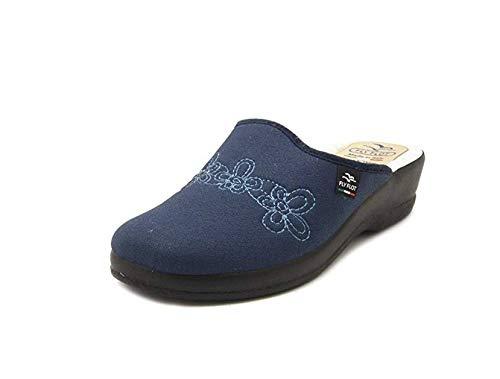Fly flot 63n98 kl pantofole ciabatte donna lana benessere comfort blu