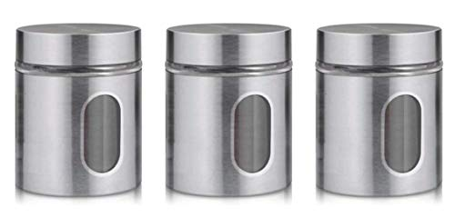 HOMIES INTERNATIONAL Stainless Steel Kitchen Canister, Airtight Food Storage Jars with Lid, Visible Window Seasoning Cereal Container Organizer (12.5 x 9.85 cm) 600 ml - Set of 3 Pieces,