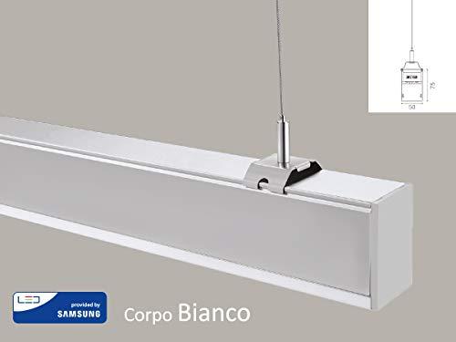 Lineare Aufhängung (LEDLUX LED-Leuchte Lineare mit Aufhängung, 40 W, Neutral, 4000 K, dimmbar, 0-10 V, ausziehbar, bis zu 12 Meter Bianco)