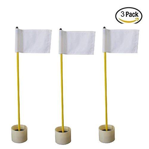 Crestgolf 3Sets Backyard Praxis Golf Loch Pole Cup Flagge Stick, 3Abschnitte, Golf Putting Grün flagstick, weiß