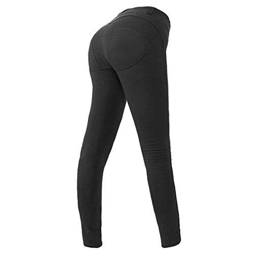 Minetom Hoch Elastizität Push Up Hüfte Hose Fitness Bleistift Hose Dünn Fitnessstudio Breath Leggings Skinny Jeans Schwarz EU M