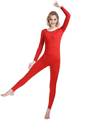 Mädchen 'Frauen gut sitzend Spandex Lycra Body Langarm Scoop Ausschnitt Footless Body Unitard (red, XS) Spandex Unitard Frauen