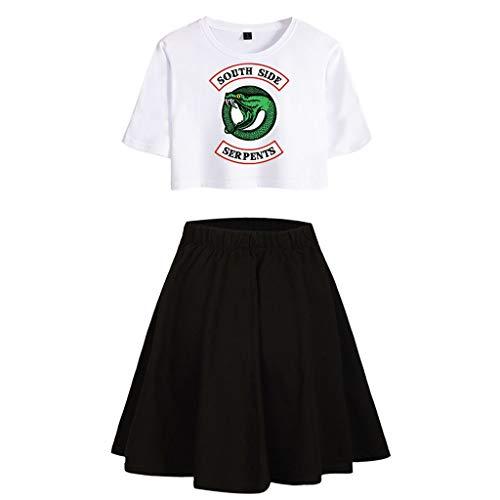 Mädchen Hose Top (Riverdale Tops und Hosen Damen, Teenager Mädchen Southside Serpents T-Shirt und Shorts Mode Sommer Crop Tops Anzug Bauchfrei Oberteile Sport Kurze Tank Top Frauen Kurzarm Blusen T-Shirt (A-W-B, XS))