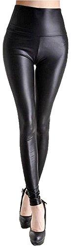 Krautwear Damen Mädchen Hose Stretch Glanz Leggings Jeggings mit Hohem Bund Leder Look Schwarz Silbern Braun Leo Fashion (910606155-Leg-matt-S) (Hohe Leder-pants)