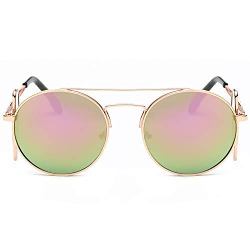 CCGSDJ Retro Männer Frauen Sonnenbrille Oval Übergroßen Flip Abnehmbarer Rahmen Dual Use Metallrahmen Sonnenbrille Eyewear