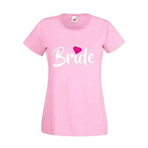 Light T Shirt Damen Kostüm - Damen T-Shirt JGA Junggesellinnenabschied Braut Team Gruppen Rundhals Shirt mit Spruch Ladyfit Bride & Team Bride Diamant Light Pink Bride S