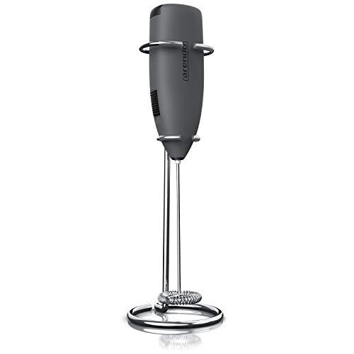 Arendo - Milchaufschäumer - elektrischer Stab Milchaufschäumer mit Batteriebetrieb - Motor mit 14.200 U/min - Spezialspirale - Cappuccino Shakes Cocktails Dressings - leichte Reinigung