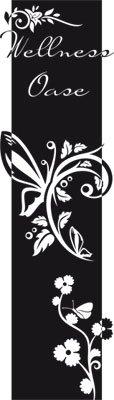 Preisvergleich Produktbild Wandtattoo Türaufkleber Türbanner für Badezimmer Spruch Wellness Oase Blumen (200x57cm//070 schwarz)