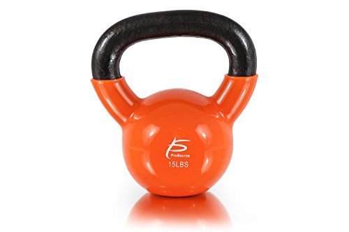 ProSource Vinyl Coated Cast Iron kettlebells, Orange - 15 lbs, Small/15 lb  available at amazon for Rs.7367