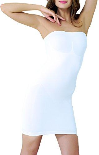 UnsichtBra Damen Figurformendes Miederkleid | Trägerloses Body Shape Kleid in schwarz, weiß oder beige (sw_3200)(XL,Weiss-Kniel.)